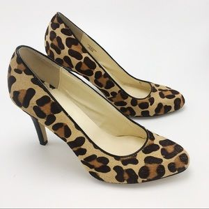 Max studio leopard calf hair pumps